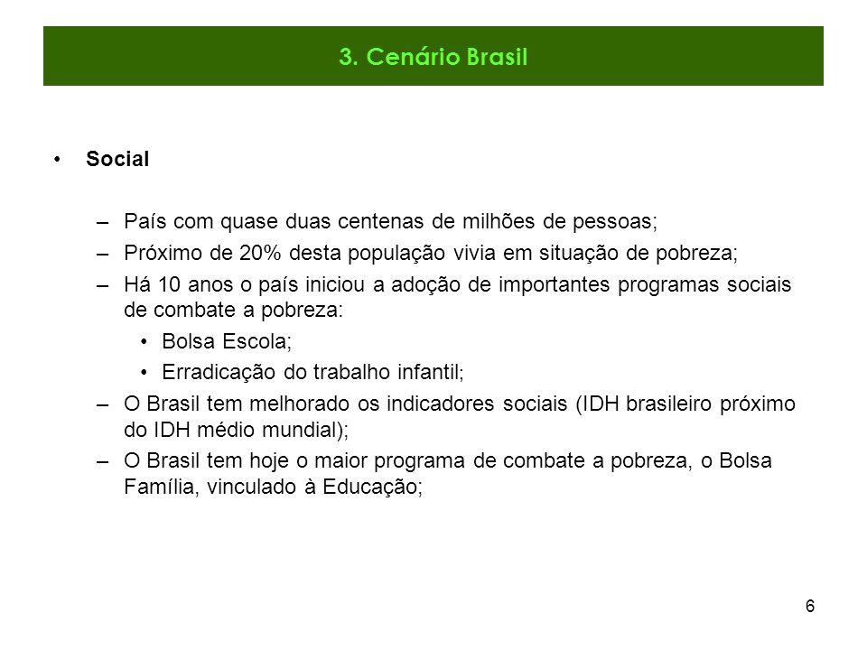 7 Ambiental Desde a morte do maior líder ambiental do Brasil (Chico Mendes), no final da década de 80, o Brasil vem tentando implementar políticas de combate ao desmatamento; Até o começo da década de 90 o desmatamento permitido nas áreas privadas da Amazônia era de 50%; No governo FHC este limite foi reduzido para 20%.