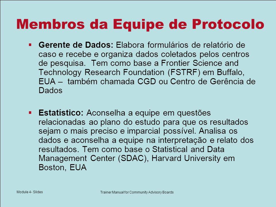 Module 4- Slides Trainer Manual for Community Advisory Boards Membros da Equipe de Protocolo Gerente de Dados: Elabora formulários de relatório de cas