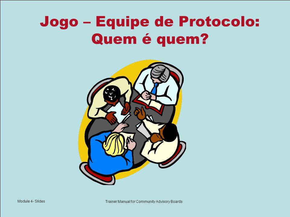 Module 4- Slides Trainer Manual for Community Advisory Boards Jogo – Equipe de Protocolo: Quem é quem?