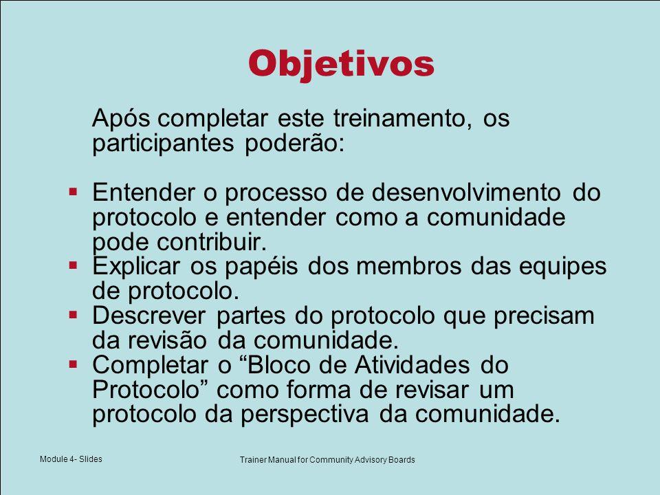 Module 4- Slides Trainer Manual for Community Advisory Boards Objetivos Após completar este treinamento, os participantes poderão: Entender o processo