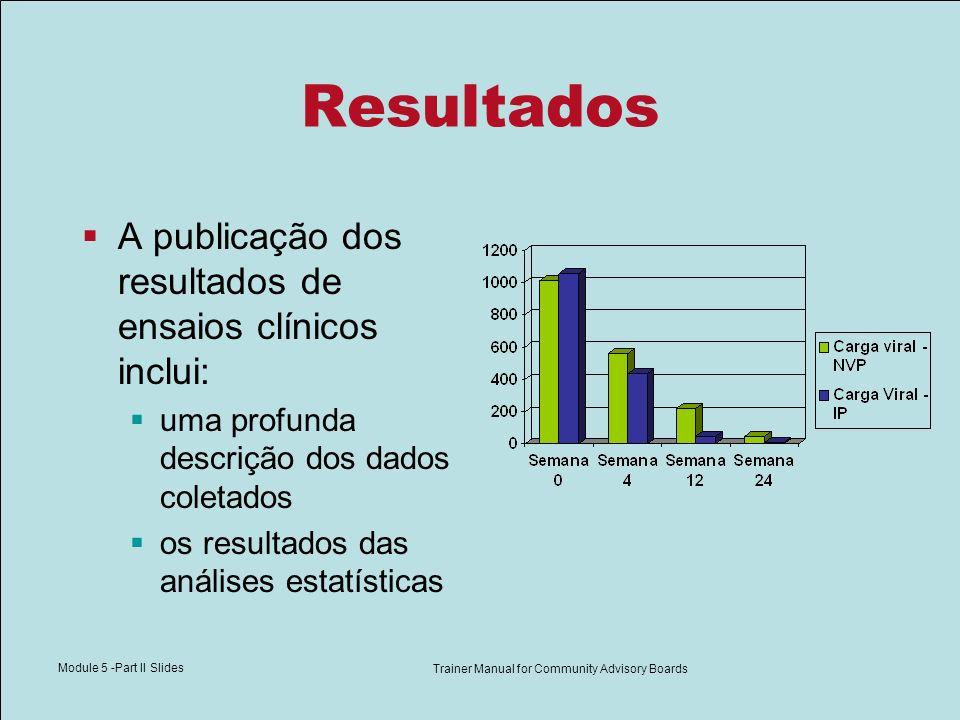 Module 5 -Part II Slides Trainer Manual for Community Advisory Boards Resultados A publicação dos resultados de ensaios clínicos inclui: uma profunda descrição dos dados coletados os resultados das análises estatísticas
