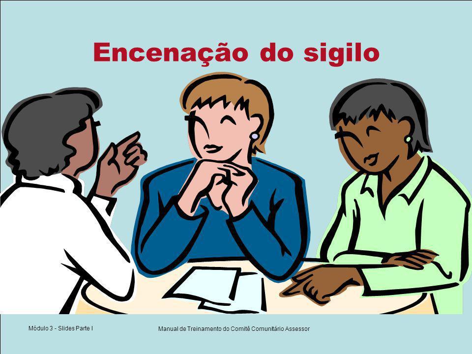 Módulo 3 - Slides Parte I Manual de Treinamento do Comitê Comunitário Assessor Encenação do sigilo