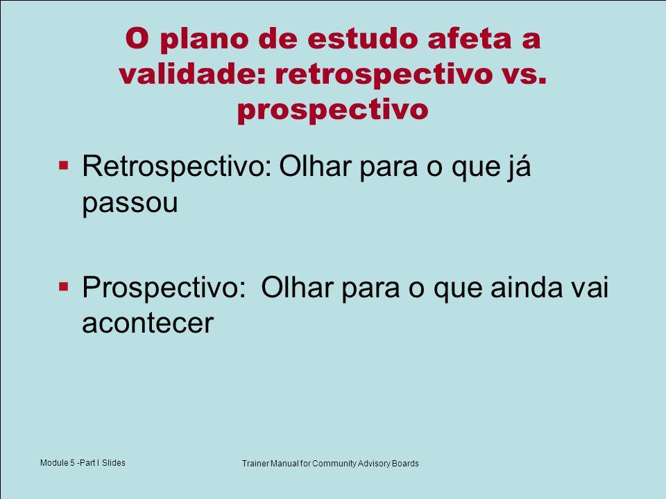 Module 5 -Part I Slides Trainer Manual for Community Advisory Boards O plano de estudo afeta a validade: retrospectivo vs. prospectivo Retrospectivo: