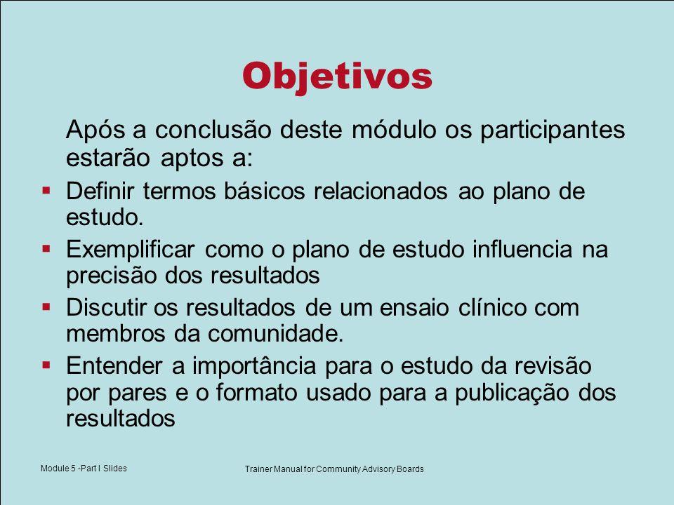 Module 5 -Part I Slides Trainer Manual for Community Advisory Boards Vocabulário Válido: legítimo, bem fundamentado, e preciso Plano de Estudo: método usado num ensaio clínico para investigar uma pergunta de pesquisa.