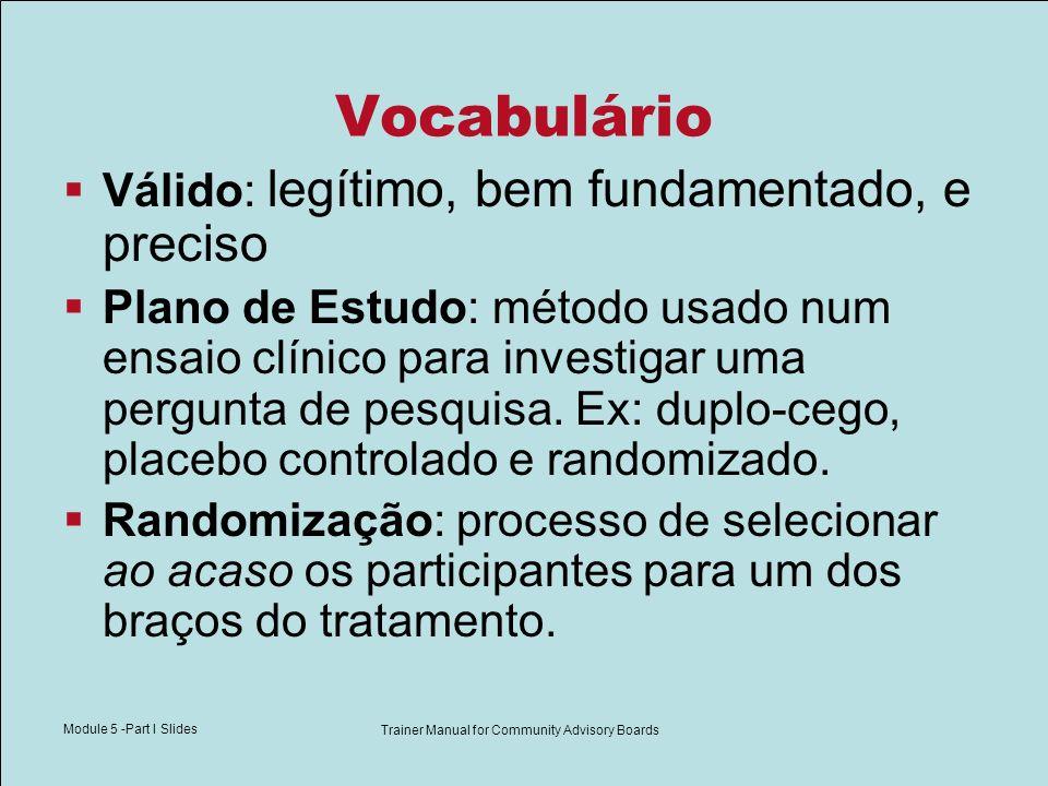 Module 5 -Part I Slides Trainer Manual for Community Advisory Boards Vocabulário Válido: legítimo, bem fundamentado, e preciso Plano de Estudo: método