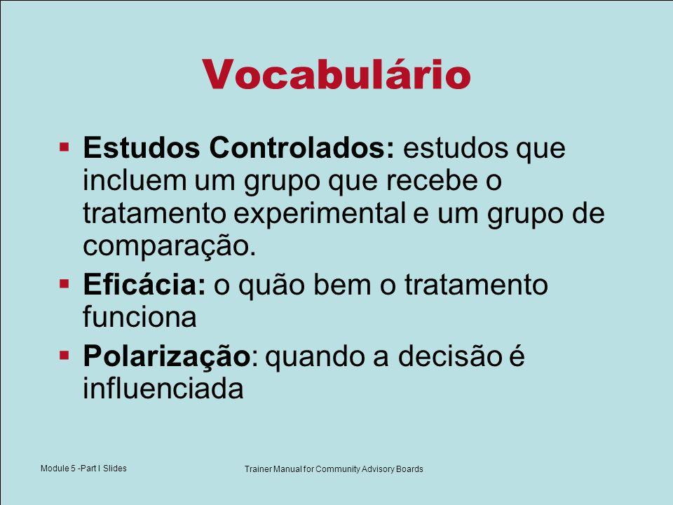 Module 5 -Part I Slides Trainer Manual for Community Advisory Boards Vocabulário Estudos Controlados: estudos que incluem um grupo que recebe o tratam