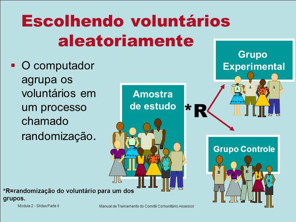 Module 2 - Slides Parte II Manual de Treinamento do Comitê Comunitário Assessor Escolhendo voluntários aleatoriamente O computador agrupa os voluntári