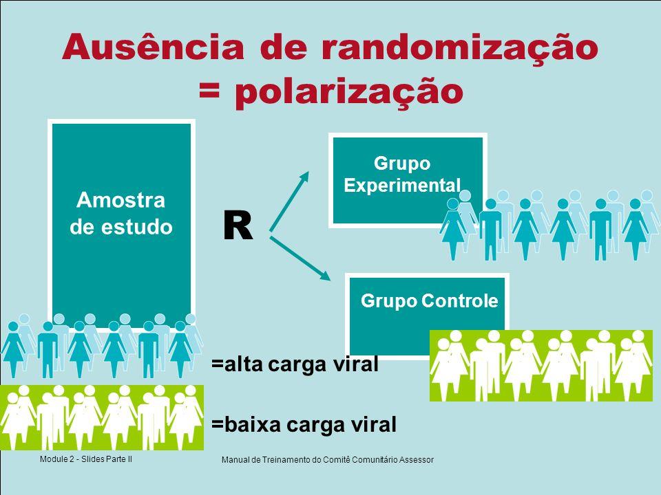 Module 2 - Slides Parte II Manual de Treinamento do Comitê Comunitário Assessor Ausência de randomização = polarização Amostra de estudo R Grupo Exper