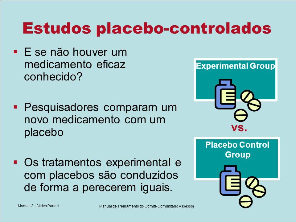 Module 2 - Slides Parte II Manual de Treinamento do Comitê Comunitário Assessor Estudos placebo-controlados E se não houver um medicamento eficaz conh