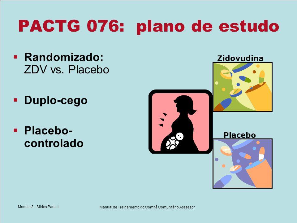 Module 2 - Slides Parte II Manual de Treinamento do Comitê Comunitário Assessor PACTG 076: plano de estudo Randomizado: ZDV vs. Placebo Duplo-cego Pla