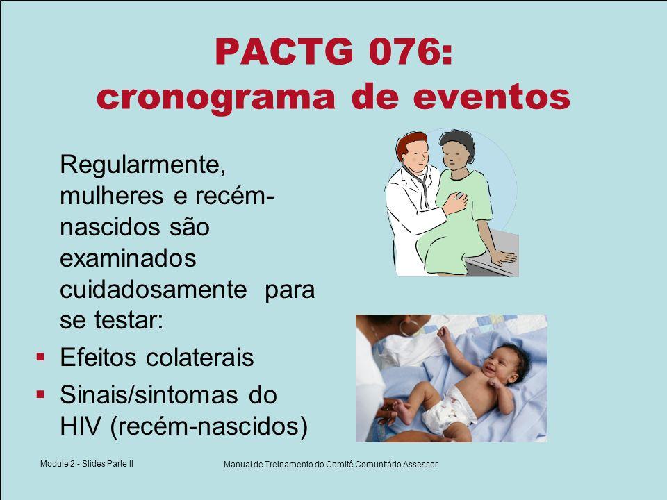 Module 2 - Slides Parte II Manual de Treinamento do Comitê Comunitário Assessor PACTG 076: cronograma de eventos Regularmente, mulheres e recém- nasci