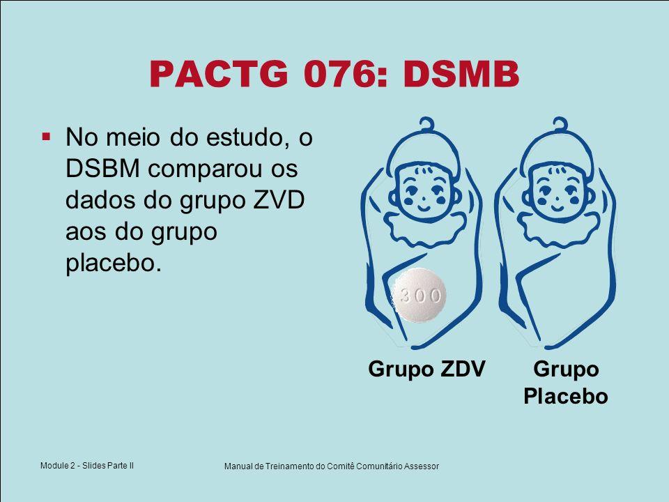 Module 2 - Slides Parte II Manual de Treinamento do Comitê Comunitário Assessor PACTG 076: DSMB No meio do estudo, o DSBM comparou os dados do grupo Z