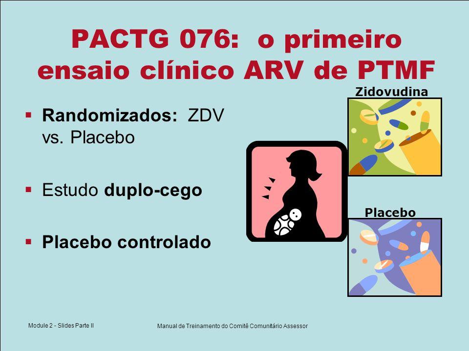 Module 2 - Slides Parte II Manual de Treinamento do Comitê Comunitário Assessor PACTG 076: o primeiro ensaio clínico ARV de PTMF Randomizados: ZDV vs.