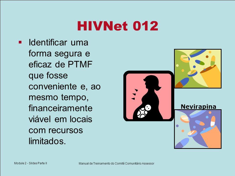 Module 2 - Slides Parte II Manual de Treinamento do Comitê Comunitário Assessor HIVNet 012 Nevirapina Identificar uma forma segura e eficaz de PTMF qu