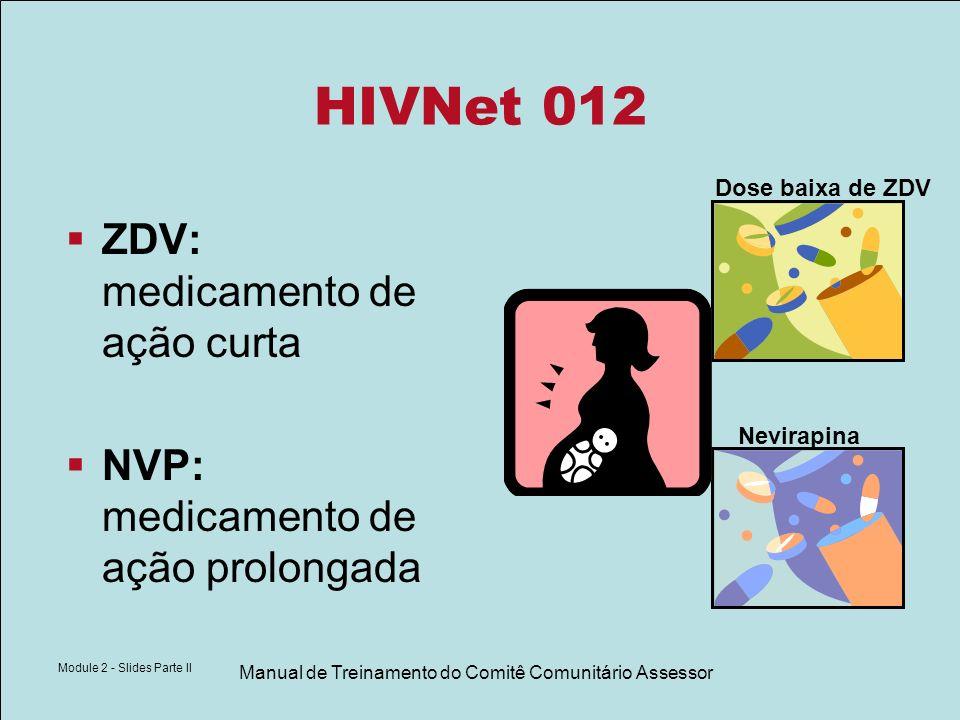 Module 2 - Slides Parte II Manual de Treinamento do Comitê Comunitário Assessor HIVNet 012 ZDV: medicamento de ação curta NVP: medicamento de ação pro