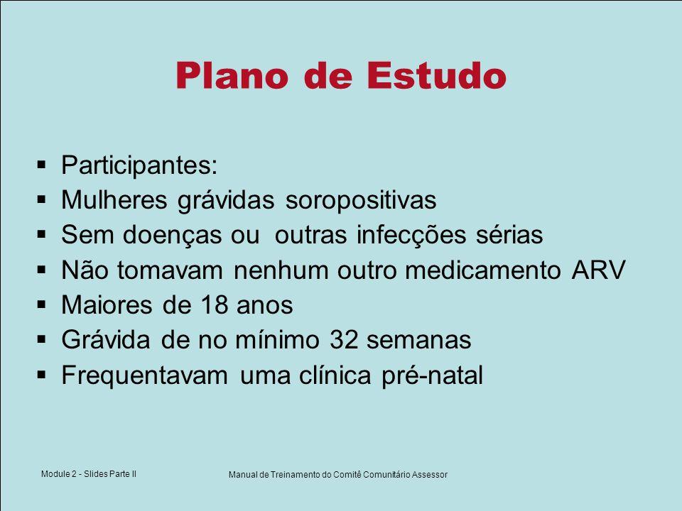 Module 2 - Slides Parte II Manual de Treinamento do Comitê Comunitário Assessor Plano de Estudo Participantes: Mulheres grávidas soropositivas Sem doe