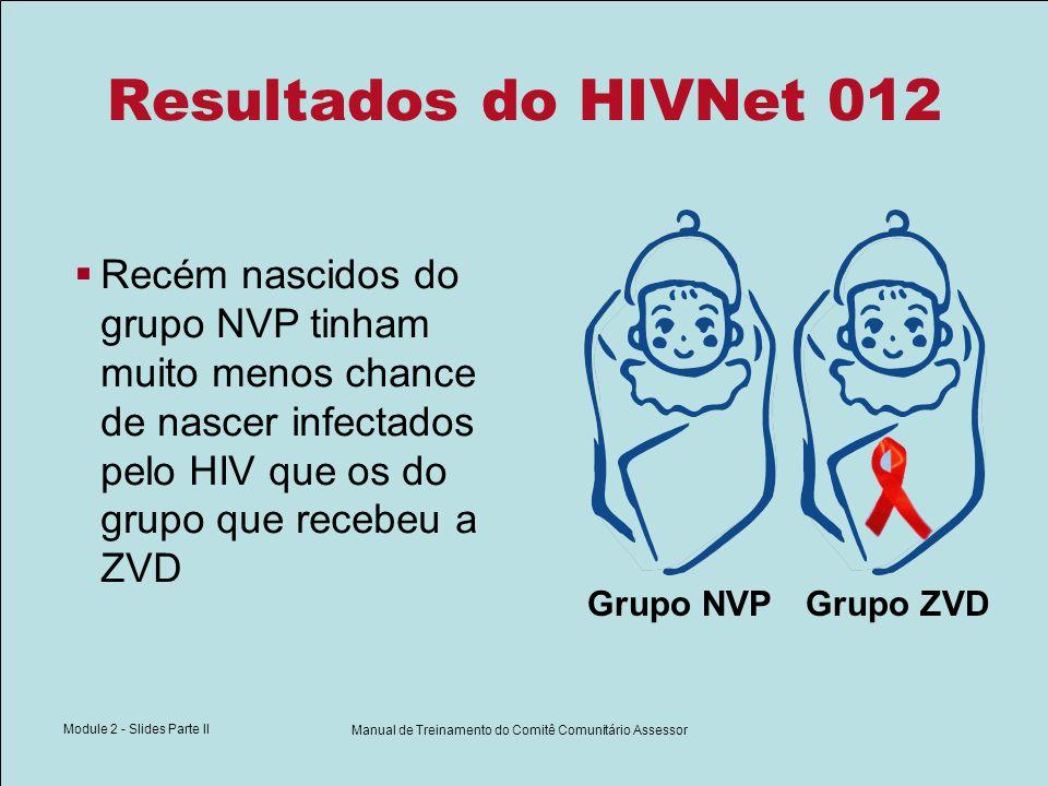 Module 2 - Slides Parte II Manual de Treinamento do Comitê Comunitário Assessor Resultados do HIVNet 012 Recém nascidos do grupo NVP tinham muito meno