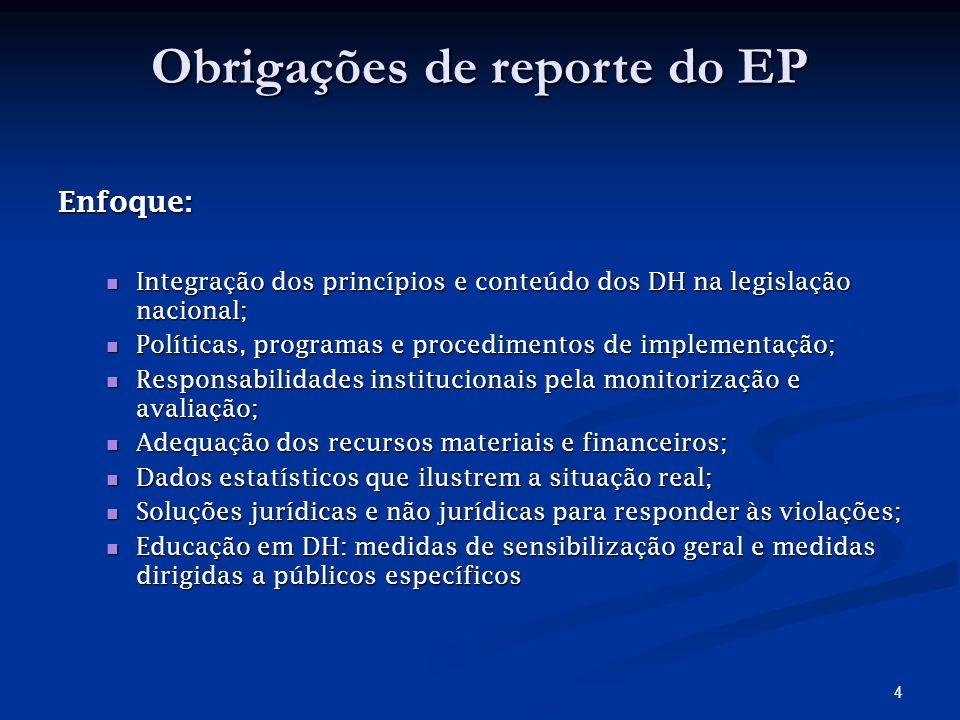 3 Objectivos do processo de reporte Avaliação da situação Monitorização Formulação de medidas Escrutínio Público Avaliação do processo Identificação dos problemas Intercâmbio de informação
