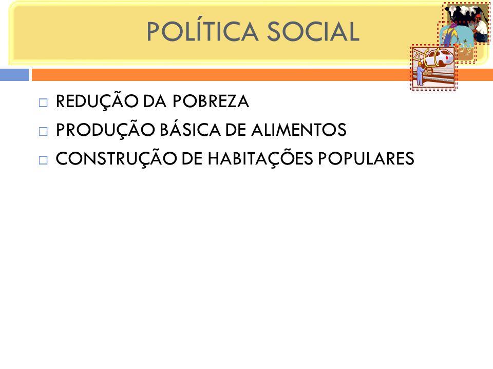 POLÍTICA SOCIAL REDUÇÃO DA POBREZA PRODUÇÃO BÁSICA DE ALIMENTOS CONSTRUÇÃO DE HABITAÇÕES POPULARES