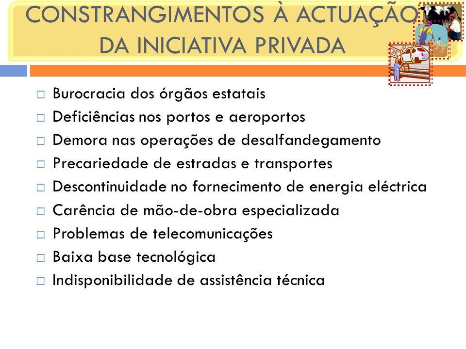 CONSTRANGIMENTOS À ACTUAÇÃO DA INICIATIVA PRIVADA Burocracia dos órgãos estatais Deficiências nos portos e aeroportos Demora nas operações de desalfan