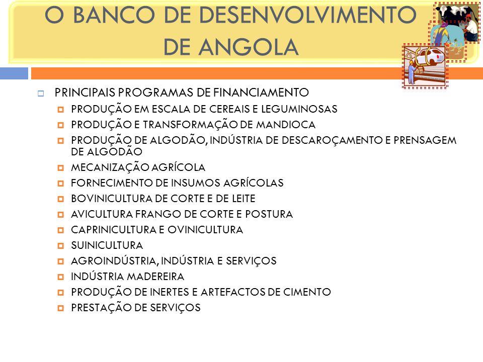 PRINCIPAIS PROGRAMAS DE FINANCIAMENTO PRODUÇÃO EM ESCALA DE CEREAIS E LEGUMINOSAS PRODUÇÃO E TRANSFORMAÇÃO DE MANDIOCA PRODUÇÃO DE ALGODÃO, INDÚSTRIA