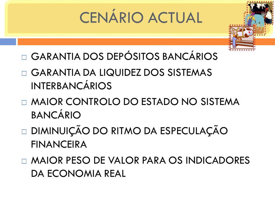 CENÁRIO ACTUAL GARANTIA DOS DEPÓSITOS BANCÁRIOS GARANTIA DA LIQUIDEZ DOS SISTEMAS INTERBANCÁRIOS MAIOR CONTROLO DO ESTADO NO SISTEMA BANCÁRIO DIMINUIÇ