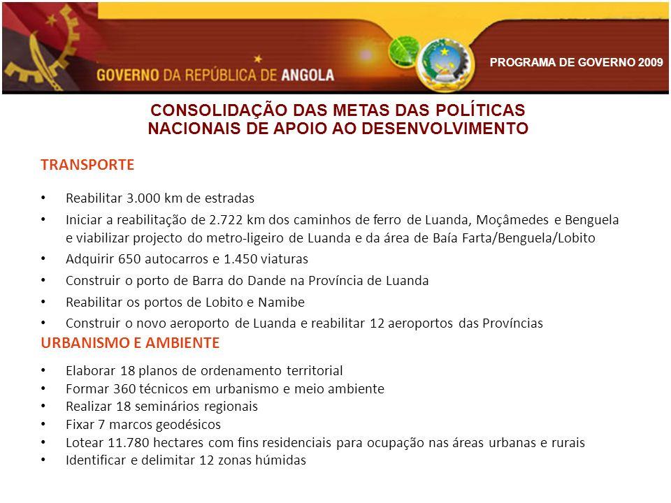 PROGRAMA DE GOVERNO 2009 TRANSPORTE Reabilitar 3.000 km de estradas Iniciar a reabilitação de 2.722 km dos caminhos de ferro de Luanda, Moçâmedes e Be
