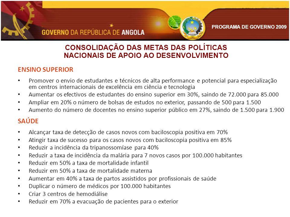 PROGRAMA DE GOVERNO 2009 ENSINO SUPERIOR Promover o envio de estudantes e técnicos de alta performance e potencial para especialização em centros inte