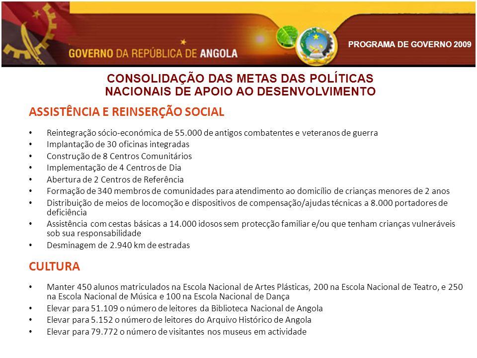 PROGRAMA DE GOVERNO 2009 ASSISTÊNCIA E REINSERÇÃO SOCIAL Reintegração sócio-económica de 55.000 de antigos combatentes e veteranos de guerra Implantaç