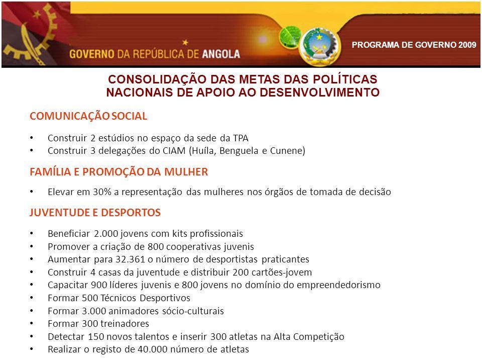 PROGRAMA DE GOVERNO 2009 COMUNICAÇÃO SOCIAL Construir 2 estúdios no espaço da sede da TPA Construir 3 delegações do CIAM (Huíla, Benguela e Cunene) FA