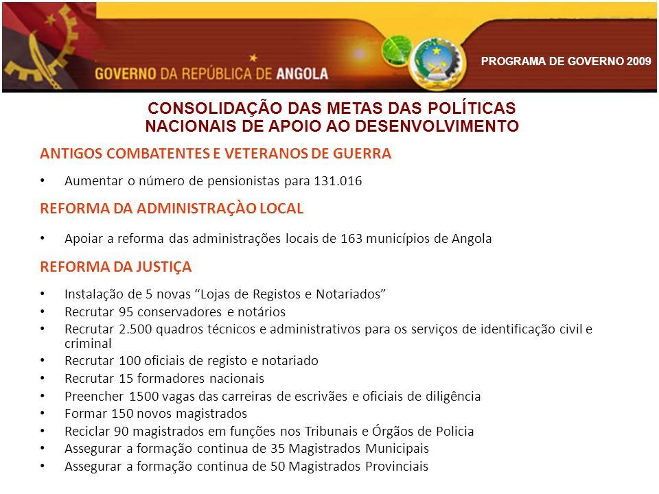 PROGRAMA DE GOVERNO 2009 ANTIGOS COMBATENTES E VETERANOS DE GUERRA Aumentar o número de pensionistas para 131.016 REFORMA DA ADMINISTRAÇÀO LOCAL Apoia