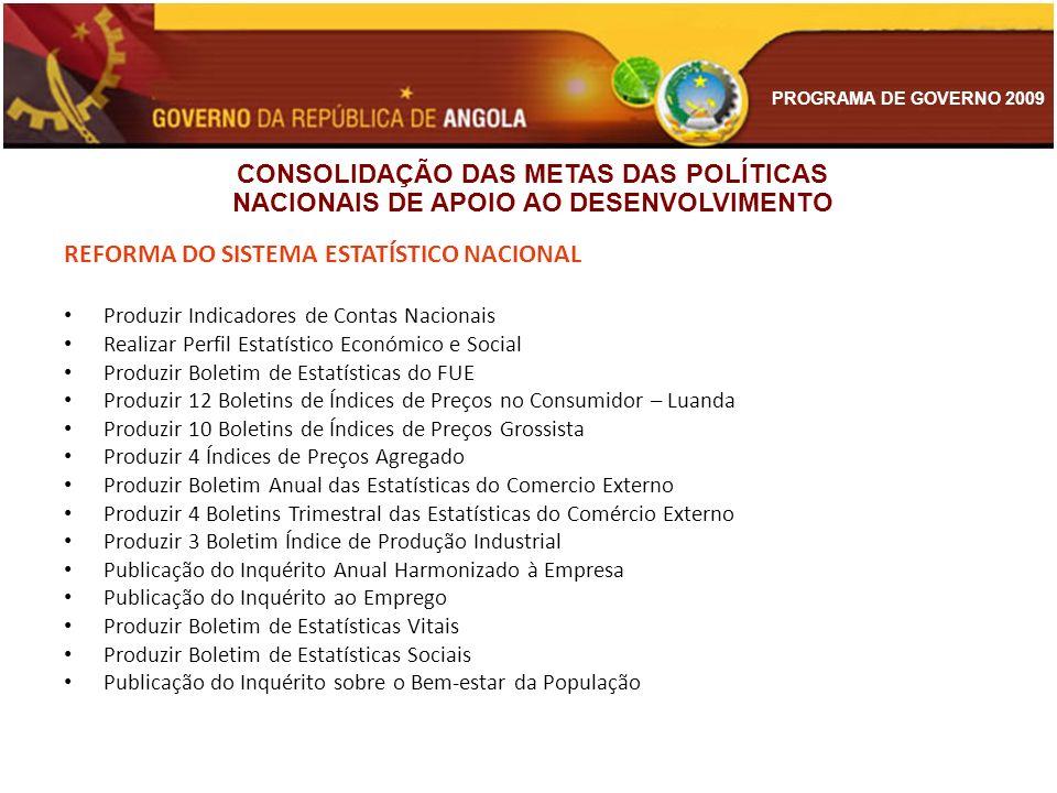 PROGRAMA DE GOVERNO 2009 REFORMA DO SISTEMA ESTATÍSTICO NACIONAL Produzir Indicadores de Contas Nacionais Realizar Perfil Estatístico Económico e Soci