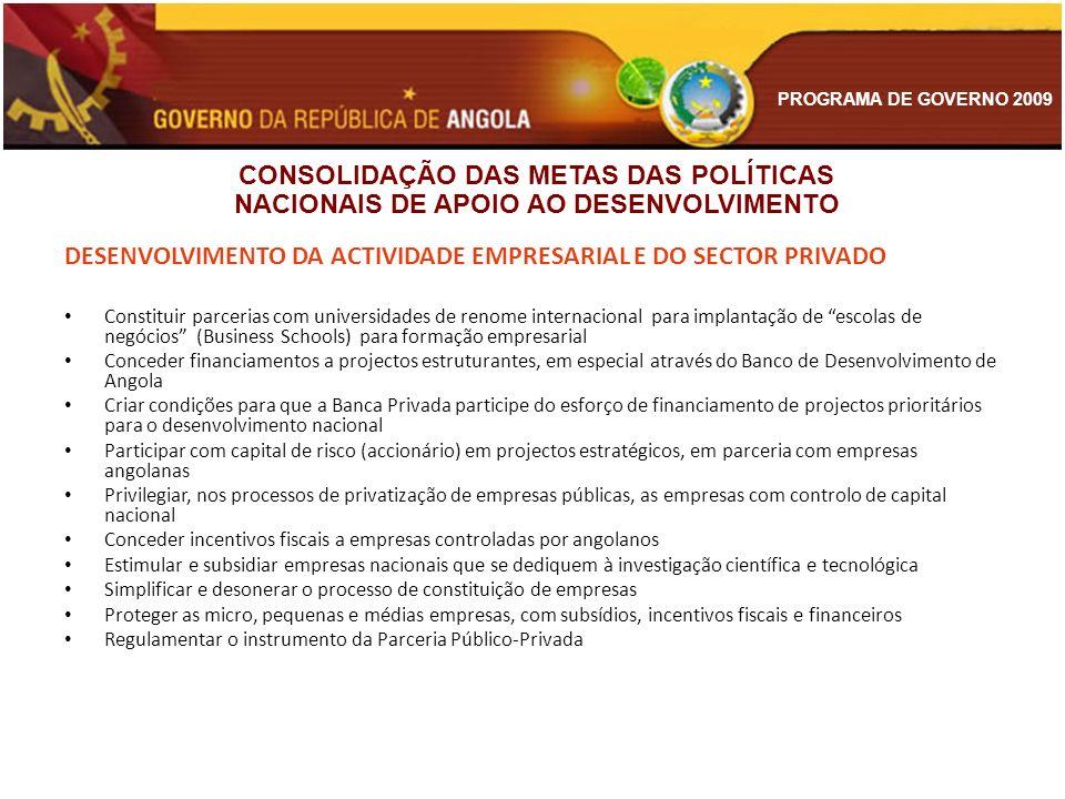 PROGRAMA DE GOVERNO 2009 DESENVOLVIMENTO DA ACTIVIDADE EMPRESARIAL E DO SECTOR PRIVADO Constituir parcerias com universidades de renome internacional