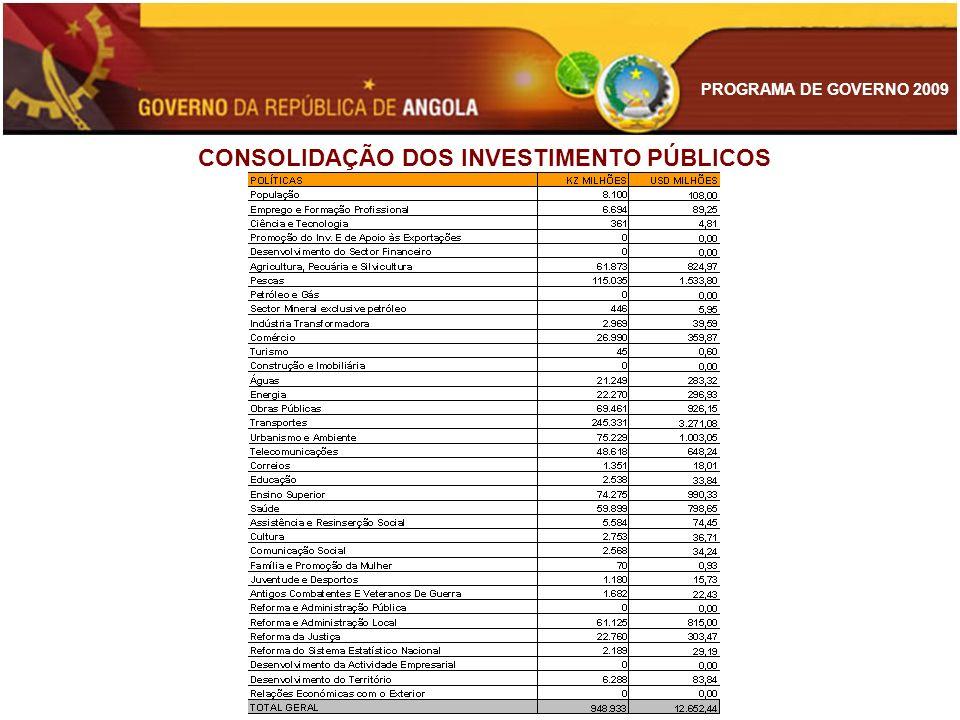 PROGRAMA DE GOVERNO 2009 CONSOLIDAÇÃO DOS INVESTIMENTO PÚBLICOS