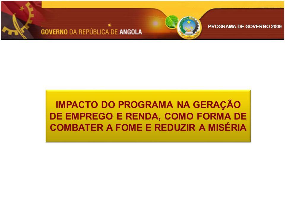 PROGRAMA DE GOVERNO 2009 IMPACTO DO PROGRAMA NA GERAÇÃO DE EMPREGO E RENDA, COMO FORMA DE COMBATER A FOME E REDUZIR A MISÉRIA