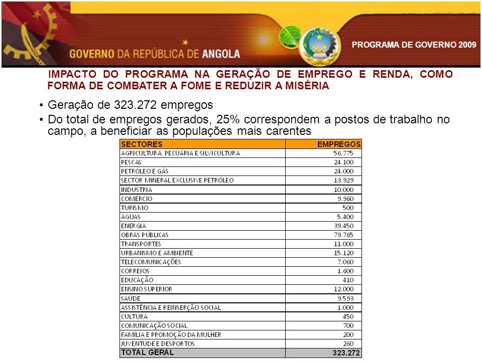 PROGRAMA DE GOVERNO 2009 IMPACTO DO PROGRAMA NA GERAÇÃO DE EMPREGO E RENDA, COMO FORMA DE COMBATER A FOME E REDUZIR A MISÉRIA Geração de 323.272 empre