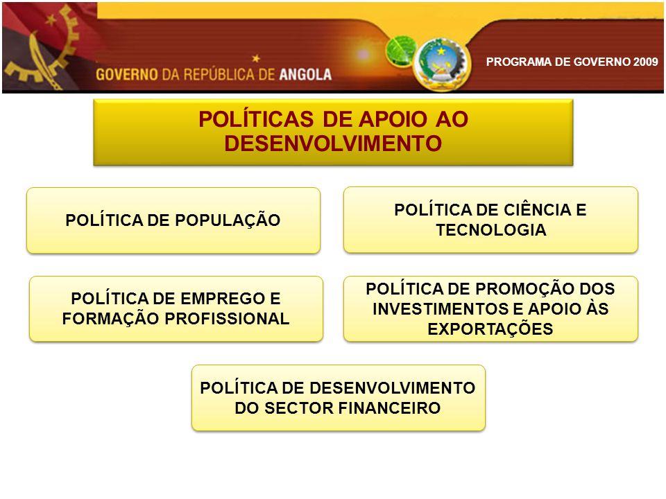 PROGRAMA DE GOVERNO 2009 POLÍTICA DE EMPREGO E FORMAÇÃO PROFISSIONAL POLÍTICA DE POPULAÇÃO POLÍTICA DE PROMOÇÃO DOS INVESTIMENTOS E APOIO ÀS EXPORTAÇÕ