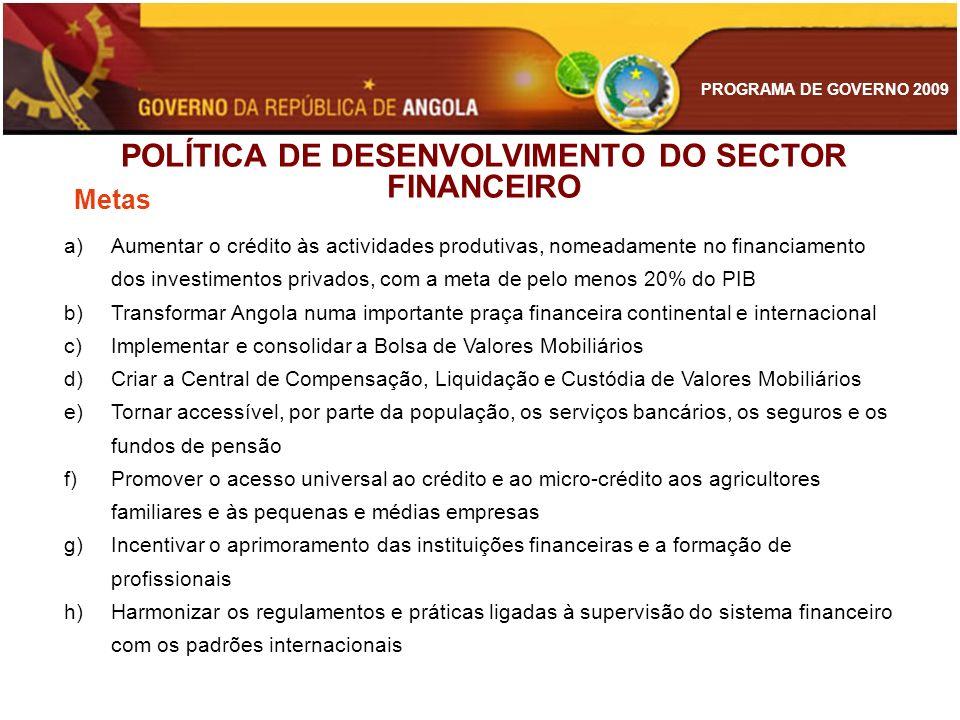 PROGRAMA DE GOVERNO 2009 POLÍTICA DE DESENVOLVIMENTO DO SECTOR FINANCEIRO a)Aumentar o crédito às actividades produtivas, nomeadamente no financiament