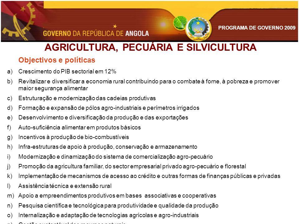 PROGRAMA DE GOVERNO 2009 AGRICULTURA, PECUÁRIA E SILVICULTURA Objectivos e políticas a)Crescimento do PIB sectorial em 12% b)Revitalizar e diversifica