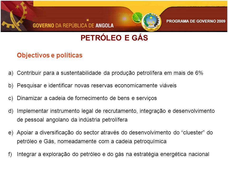 PROGRAMA DE GOVERNO 2009 PETRÓLEO E GÁS Objectivos e políticas a)Contribuir para a sustentabilidade da produção petrolífera em mais de 6% b)Pesquisar