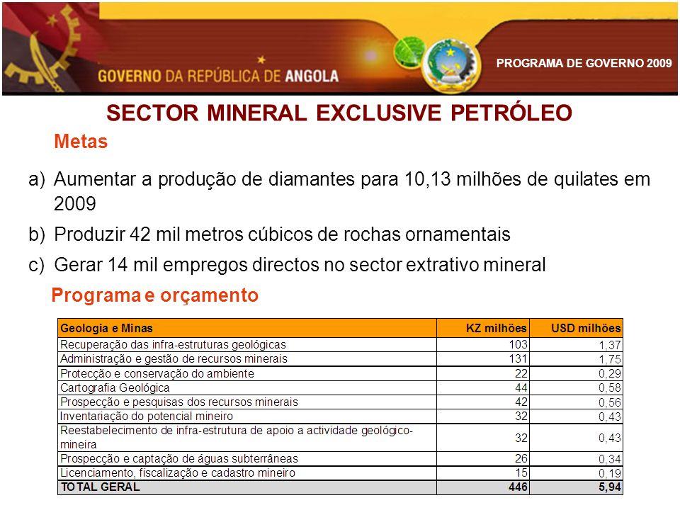 PROGRAMA DE GOVERNO 2009 SECTOR MINERAL EXCLUSIVE PETRÓLEO Metas a)Aumentar a produção de diamantes para 10,13 milhões de quilates em 2009 b)Produzir