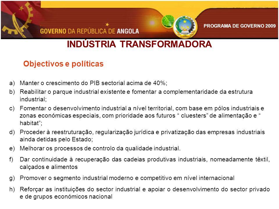 PROGRAMA DE GOVERNO 2009 INDÚSTRIA TRANSFORMADORA Objectivos e políticas a)Manter o crescimento do PIB sectorial acima de 40%; b)Reabilitar o parque i