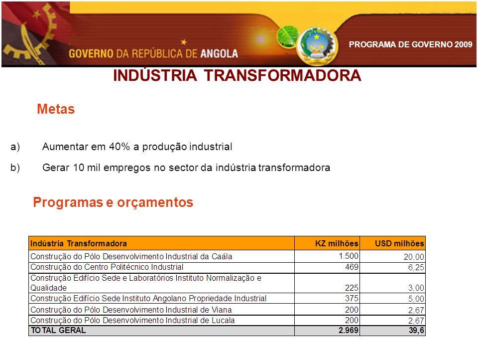 PROGRAMA DE GOVERNO 2009 INDÚSTRIA TRANSFORMADORA Metas a)Aumentar em 40% a produção industrial b)Gerar 10 mil empregos no sector da indústria transfo