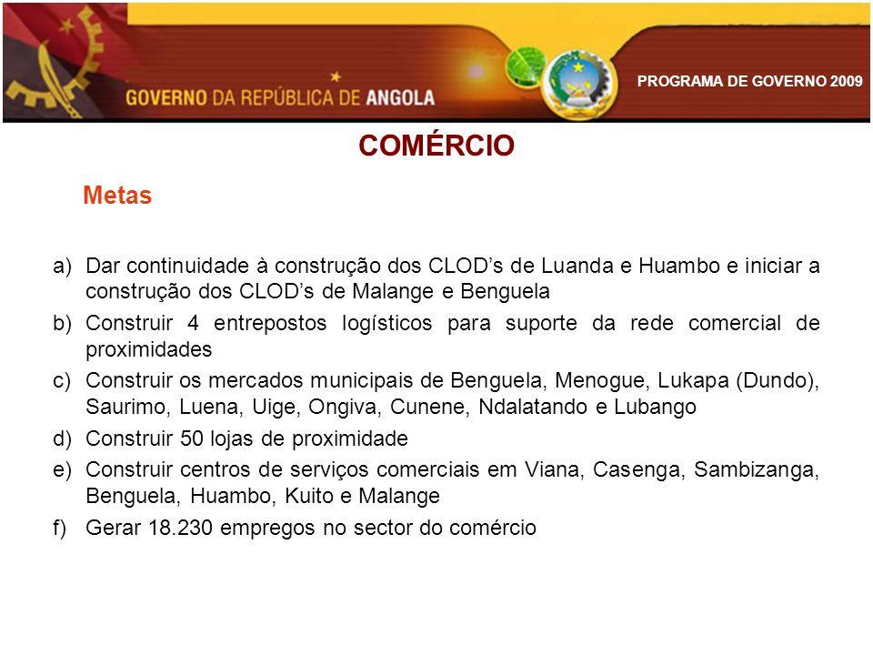 PROGRAMA DE GOVERNO 2009 COMÉRCIO Metas a)Dar continuidade à construção dos CLODs de Luanda e Huambo e iniciar a construção dos CLODs de Malange e Ben