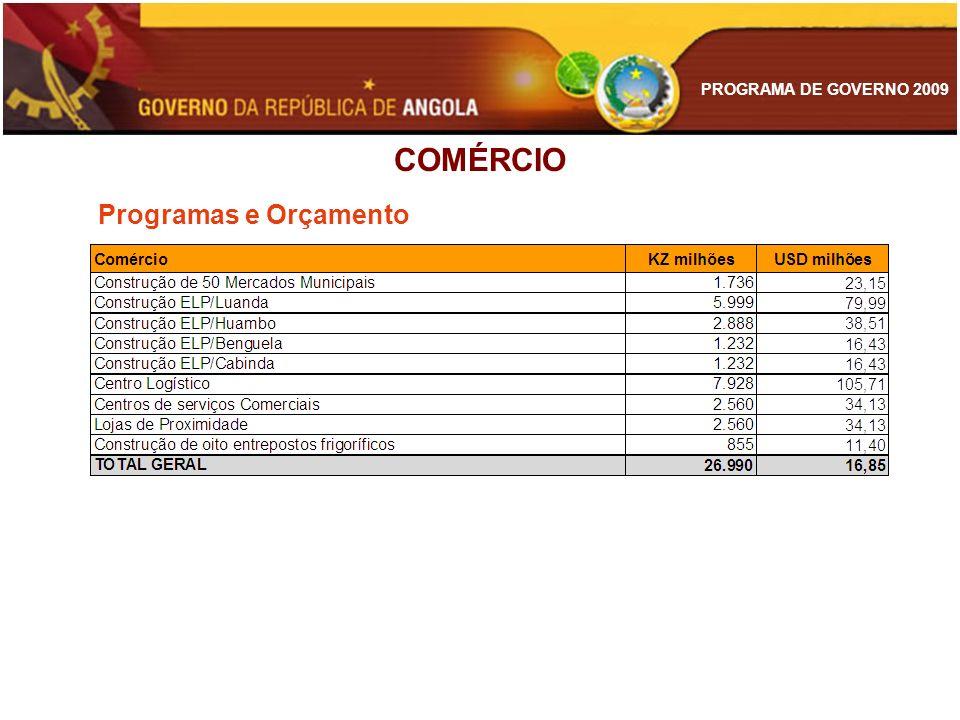 PROGRAMA DE GOVERNO 2009 COMÉRCIO Programas e Orçamento