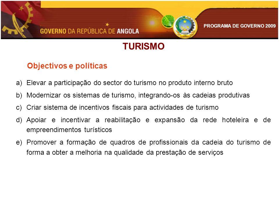 PROGRAMA DE GOVERNO 2009 TURISMO Objectivos e políticas a)Elevar a participação do sector do turismo no produto interno bruto b)Modernizar os sistemas
