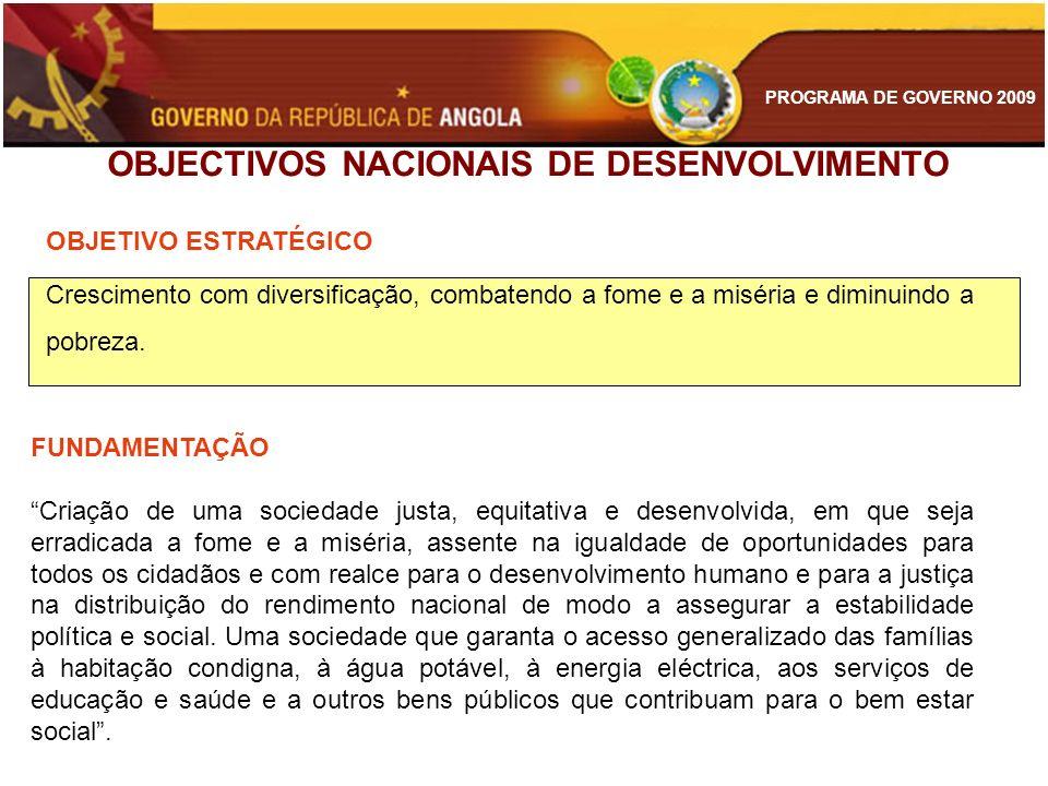 PROGRAMA DE GOVERNO 2009 OBJECTIVOS NACIONAIS DE DESENVOLVIMENTO OBJETIVO ESTRATÉGICO Crescimento com diversificação, combatendo a fome e a miséria e