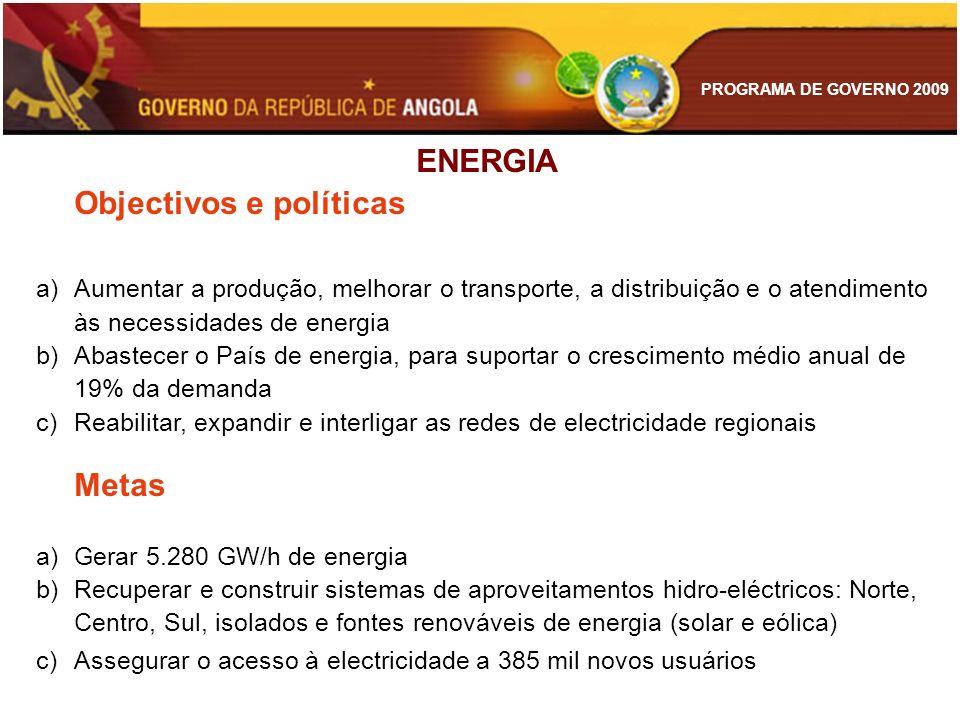 PROGRAMA DE GOVERNO 2009 ENERGIA Objectivos e políticas a)Aumentar a produção, melhorar o transporte, a distribuição e o atendimento às necessidades d
