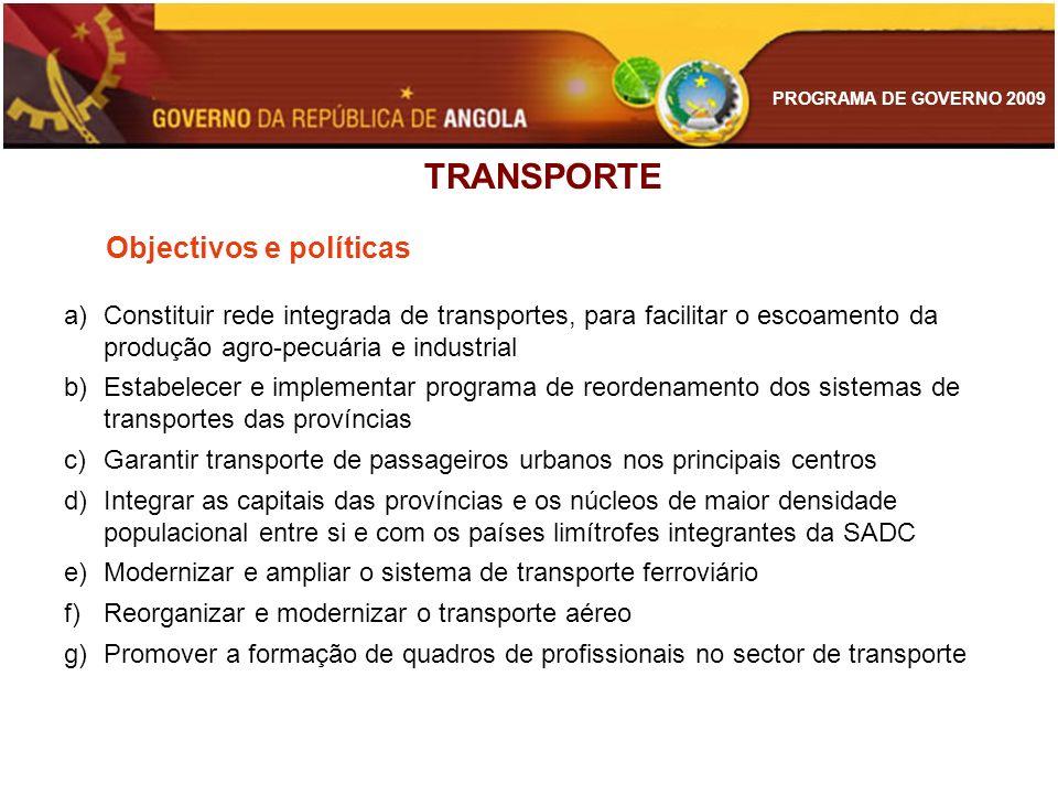 PROGRAMA DE GOVERNO 2009 TRANSPORTE Objectivos e políticas a)Constituir rede integrada de transportes, para facilitar o escoamento da produção agro-pe