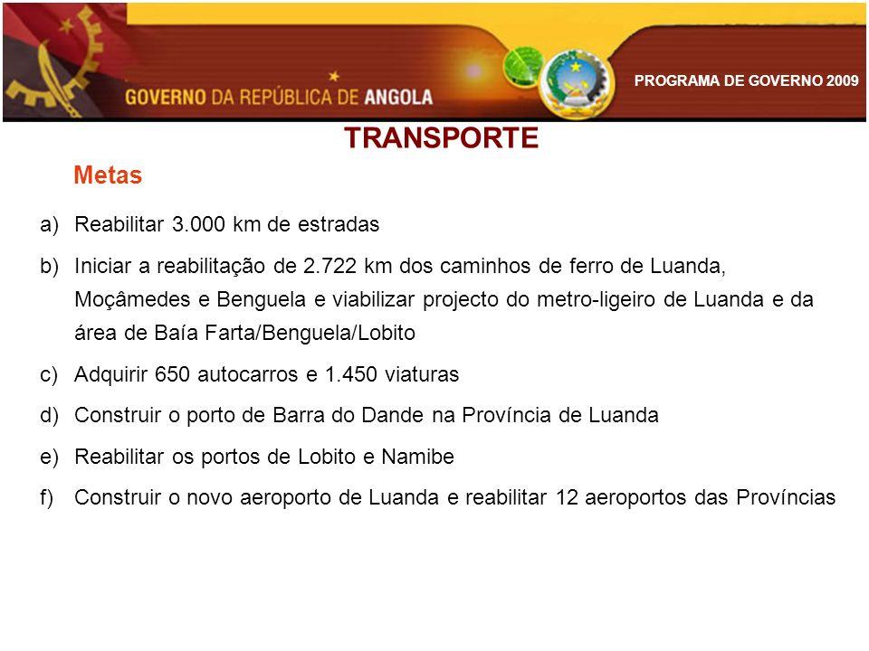 PROGRAMA DE GOVERNO 2009 TRANSPORTE Metas a)Reabilitar 3.000 km de estradas b)Iniciar a reabilitação de 2.722 km dos caminhos de ferro de Luanda, Moçâ